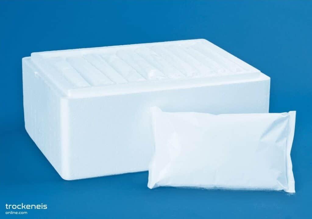 Box mit verpackten Trockeneisscheiben